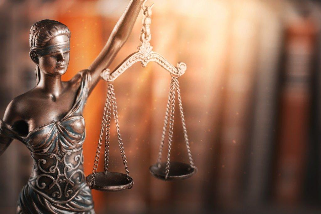 Statue of justice close up