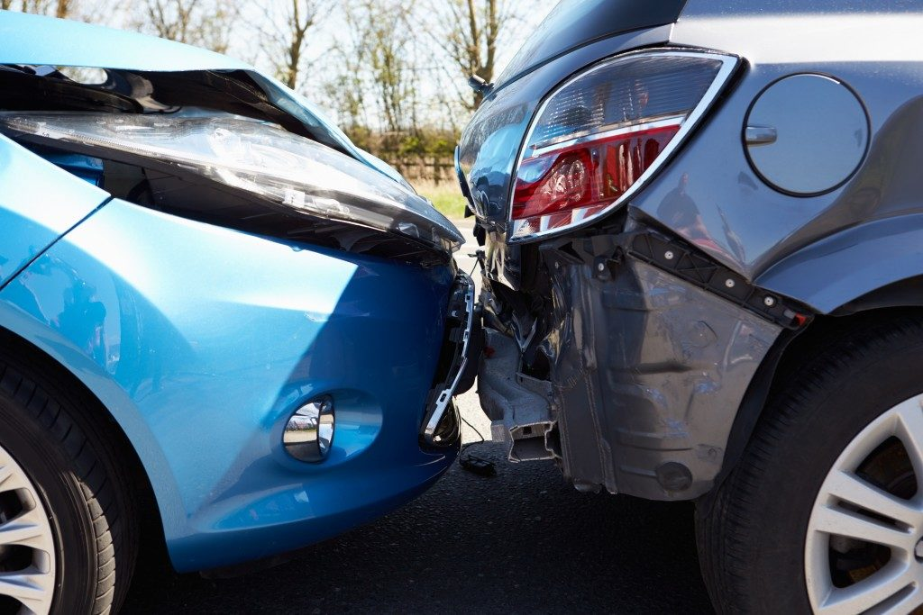 two cars in an accident