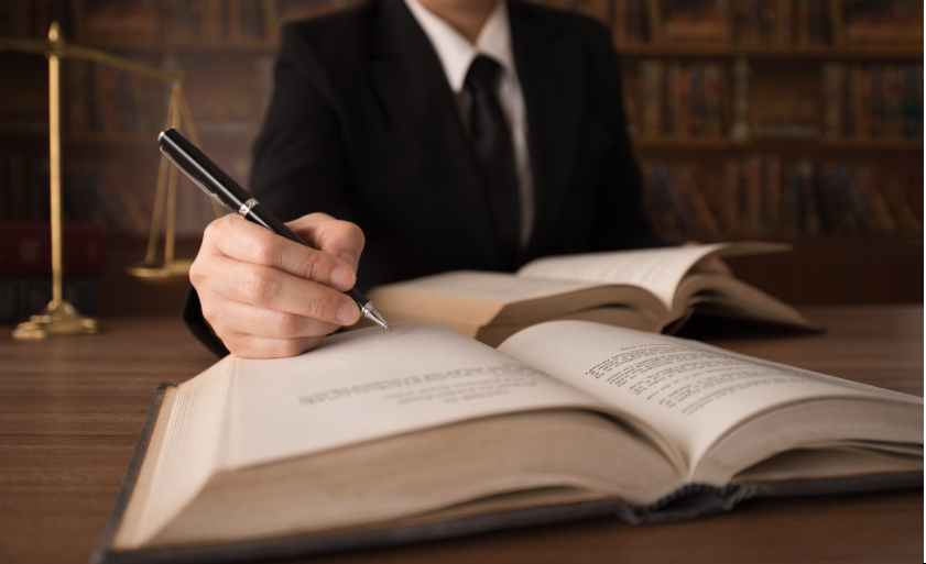 Lawyer studying client's case