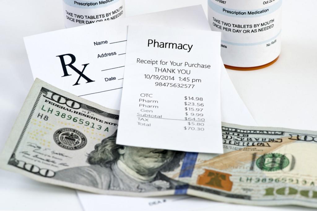 Pharmacy receipt with prescription bottle