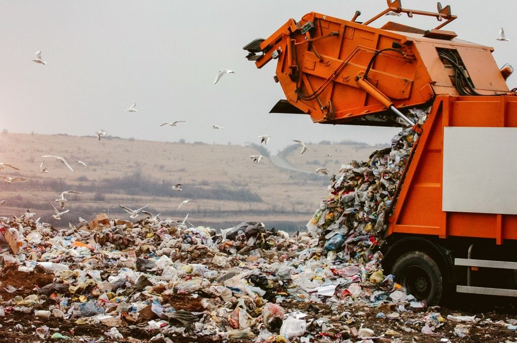 truck disposing trash in the landfill