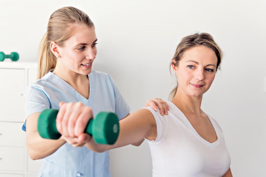 woman doing rehabilitation exercise
