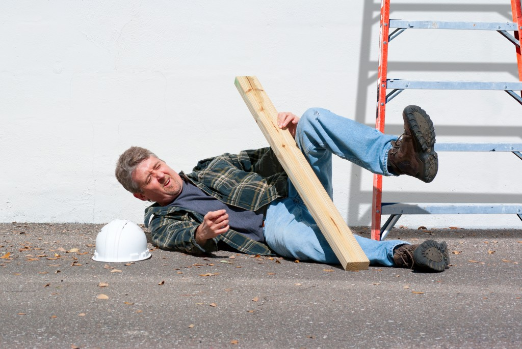 injured man in the construction site