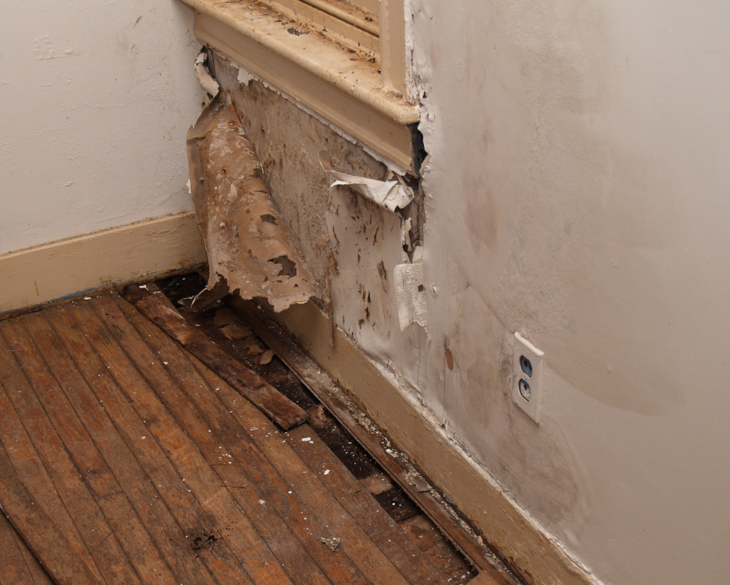 damaged interior wall in an old house
